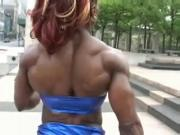 Black Milf showing her Muscular Body