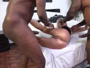 White mom Cindy fucked in all her holes by two Black Bulls