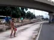 Jerking on busy street