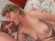 Granny Removes Leopard Print Lingerie and Fucks