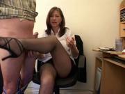 Milf in office handjob