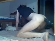 Crossdressed boy with huge black dildo doggy style, wank and cum