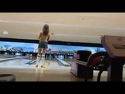 Couple seduce a girl at the bowling alley