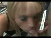 Blonde Tranny Slut  suck & fuck with messy Facial