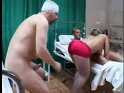 Two monster cock in a hospital destroy pretty nurse's holes