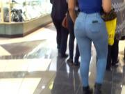 Bubble Cheeks In Stonewashed Jeans At The Mall!