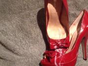 cum on gf's red peeptoe high heels