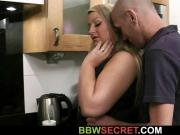 Wife finds him fucking busty bitch at kitchen