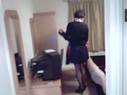 Mature crossdresser secretary poses for bosses cam