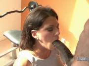 Brunette wife Leena Sky is taking some big black cock