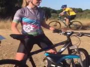 Female cyclist crotch pumping