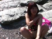 Cute Japanese M at the beach