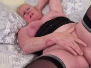 in heat divorcee janet masterbating on bed