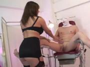 Nurse Mistress fits spunk pump to slaves cock and fucks ass