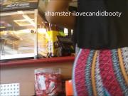 candid jiggly ebony in thin pants