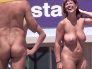 volleyball on spain nude beach