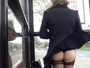windy stockings upskirt face view