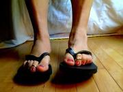 sissy boy feet playing in flip flops