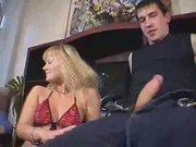 Blonde Slut Sucks And Fucks Two Cocks