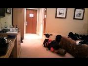 Daniella with hood on the floor