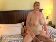 Blonde Plumper packing herself with Black Cock