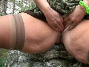 Outdoors and spreading her thick thighs