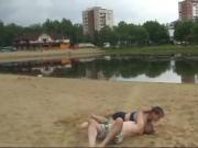 On an empty beach