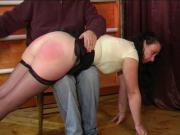 OTK bare butt spanking for a mature lady