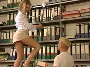 German girl fucks in office