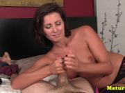 Dirty talking milf pulling hard juicy cock