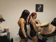 Lady X and friend punish slave with a huge strap-on