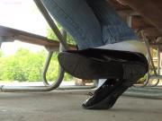 Jasmine black flats shoeplay in socks PREVIEW