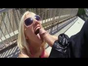 Blondie Fesser stroking and sucking that dick in public