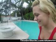 ThisGirlSucks - Blonde Babe Deepthroats Big Cock