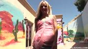 Blonde cuties dress up and begun sucking and stroking a huge