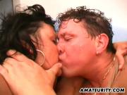 Two amateur housewives share a cock with facial