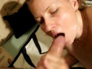 Beautiful MILF gets the cum shot on her face