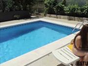 Spanish Amateur POV poolside
