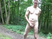 Almost caught naked ,wanking in public wood