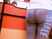 Brunette Ass Eating Gray Sweats!