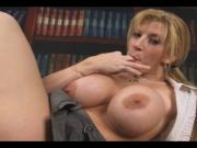 Busty Sara pleases herself