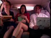 Three porn stars dogging in the car