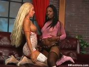 Interracial lesbians relax with pussy-licking