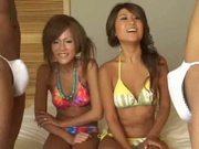 two Japanese girls watching two dicks 2 cfnm