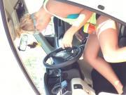 Blonde carwash no panties?5