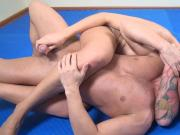powerful blonde wrestles and stongfully masturbates guy