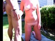 Tanned brunette outdoor sex with her bf