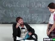 Spectacular babe Adria having a hard fuck on a history class