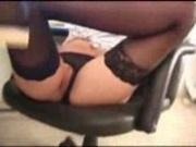 Secretary masturbates and shows her ass