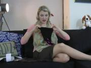 Alicia wears Commando Dotty pantyhose
